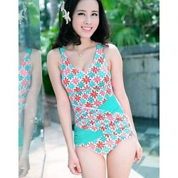 Women's Sexy Summer Beach Push Up Green Spell Color floral One Pieces Swimwear Nz
