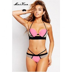 2017Women's Push-up/Padded Bras/Underwire Bra High Rise/Color Block/Solid Halter Bikinis (Others)DLM-Bikini0002