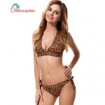 Sexy Bikini Leopard Swimwear Nz Halter Bandage Women's Swimsuit Nz Animal Print Padded Bk-V1