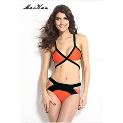 2019Women's Push-up/Padded Bras High Rise/Color Block/Solid Halter Bikinis (Others)DLM-Bikini0022