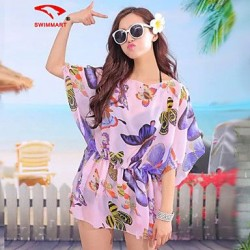 Womens Floral Mesh Halter Cover Ups Polyester SM7A08
