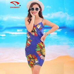 Womens Floral Halter Cover Ups Polyester SM7A01