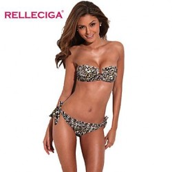 Relleciga Women's Leopard Pattern Full-Lined Bandeau Bikini Set with Front V