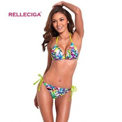 Relleciga Women's Fashionable Doodle Print Triangle Top Bikini Set with Neon Yellow Ties and Removable Padding