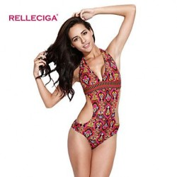 Relleciga Women's Gypsy Style Pattern One-piece Swimsuit Nz with Curve-loving Silhouette at Back