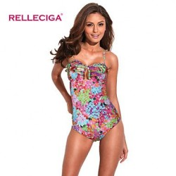 Relleciga Women's Digital Floral Print Bikini Series One-piece Swimsuit Nz with Ruffle & Braided Detail at Front