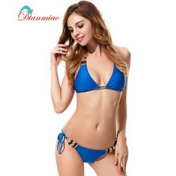 Sexy Swimwear Nz Bikini Beads Halter Women's Swimsuit Nz String Padded Blue BK-0029