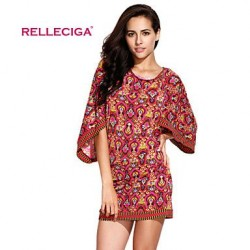 Relleciga Women's Digital Exotic Print Beach Dress Beachwear
