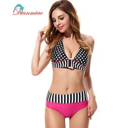 Sexy Swimwear Nz Bikini Halter Bandage Women's Swimsuit Nz Polka Dots Striped Fringe BK-31