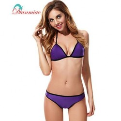 Sexy Triangl Bikini Neoprene Halter Straps Swimwear Nz Women's Swimsuit Nz Splice BK-18