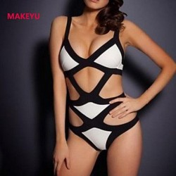 MAKEYU Women's Color Matching Bikini Sexy One-piece Swimwear Nz