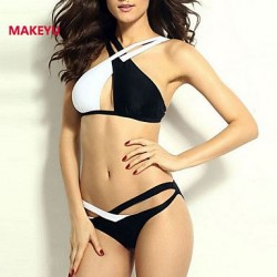 MAKEYU Women's Black And White Color Matching Sexy Bikini Swimwear Nz