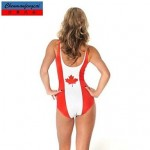 Nzswimwear®Women's Elasticated Jumpsuit Sexy Bodycon Canadian Flag Printed Swimwear Nz Hot Lady's Bikini Top Wear