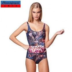 Nzswimwear®Women's Sexy Stretchy Comic Swimming Wear Printed Bodycon Jumpsuit One Piece