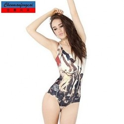 Nzswimwear®Women's Sexy Revolution Elasticated Swimming Suit Sexy Print Bodycon Jumpsuit Top