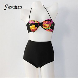 Women Nylon/Polyester Wireless Bandeau Bikinis/Tankinis
