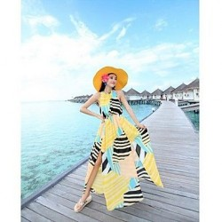 Nzswimwear® Geometric printed chiffon backless Bohemian dress split the seaside holiday Beach Dress