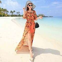 Nzswimwear® The maldives beach resort Bohemian chiffon dress sexy split the land thin Beach Dress