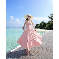 The maldives beach dress lace-up sexy backless Bohemian dress holiday beach dress