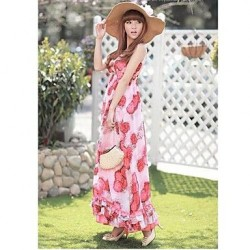 Bohemia double v-neck big flower skirt Large pendulum beach dress Chiffon Beach Dress