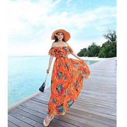 Women's Bohemian dress brought big a word skirt beach inclined shoulder strapless Beach Dress