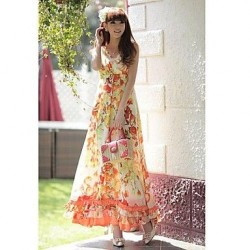 Nzswimwear® Woman's The new high emulation silk waist thin chiffon dress A word brought the Bohemian beach dress