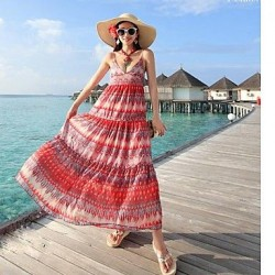 Deep v-neck show thin printed dresses Bohemian condole belt chiffon mopping the seaside holidayBeach Dress