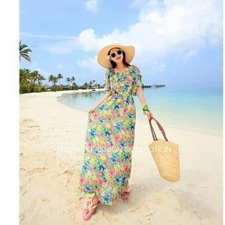 Nzswimwear®Bohemian dress sweet falbala beach dress seaside resorts show thin chiffon Beach Dress
