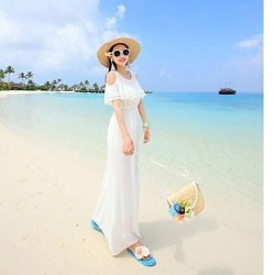 Big yards loose dress female vamco Bohemia seaside holiday show thin dew shoulder chiffon dress mop Beach Dress