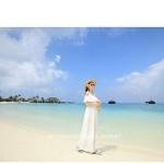 Big yards loose dress female vamco Bohemia seaside holiday show thin dew shoulder chiffon dress mop Beach Dress