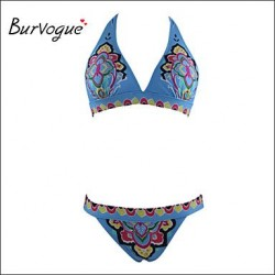 Burvogue Women's Sexy Push Up Folk Brazilian Swimwear Nz Bikini Set Beachwear
