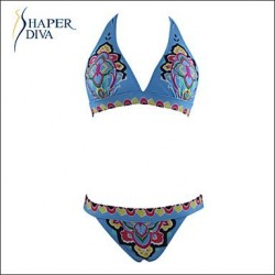 Shaperdiva Women's Floral Paisley swimwear Push Up Padded Bikini Top Bikini Set