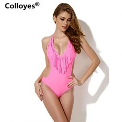 Nzswimwear Women Pink One-piece with Fringe Side Cut-outs Bikinis Swimwear Nz