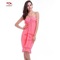 Women Polyester Spandex Halter Bandeau Swimming Accessories Cover Ups VB013