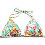 Nzswimwear Women Floral Triangle Top with Classic Cut Bottom Padded Bras Adjustable Halter Straps Bikinis Swimwear Nz