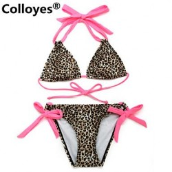 Nzswimwear Women Leopard Triangle Top with Classic Cut Bottom Padded Bras Adjustable Halter Straps Bikinis Swimwear Nz