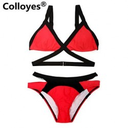 Nzswimwear Women Triangle Top with Classic Cut Bottom Padded Bras Adjustable Halter Straps Bikinis Swimwear Nz Black+Red