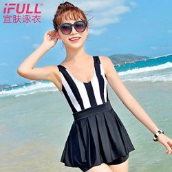 Woman fashion sexy swimsuit striped skirt