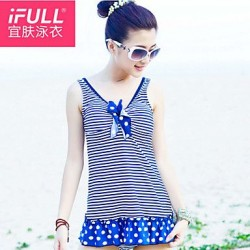 Fashion cute striped polka dot dress style suit woman