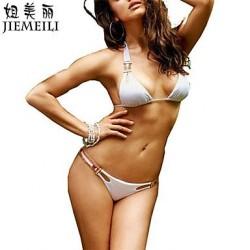 Nzswimwear Womens Push Up Solid Halter Bikinis Cotton Blends