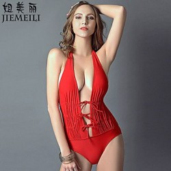 Nzswimwear Womens Wireless Bandage Halter One Pieces Cotton Blends