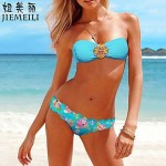 Nzswimwear Women's Push-up Floral Bandeau Bikinis (Cotton Blends)