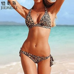 Nzswimwear Women's Push-up Leopard Halter Bikinis (Cotton Blends)