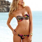 Nzswimwear Women's Push-up Floral Halter Bikinis (Cotton Blends)