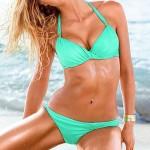 Nzswimwear Women's Push-up Solid Halter Bikinis (Cotton Blends)