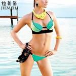 Nzswimwear Women's Push-up Color Block Halter Bikinis (Cotton Blends)