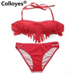 Nzswimwear Women Red Bandeau Top with Fringe Detail at Bust Removable Halter Straps Bikinis Swimwear Nz