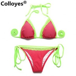 Nzswimwear Watermelon Red Green Light Removable Paddings Lace Triangle Top Classic Bottom Bras Straped Bikinis Swimwear Nz