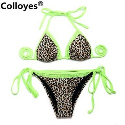 Nzswimwear Leopard + Green Lace Triangle Top with Classic Cut Bottom Padded Bras Straped Bikinis Swimwear Nz