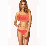 Women's Padded Bras/Padless Bra Solid/Mesh Straped Bikinis (Mesh/Polyester)With Falbala Cute Swimwear Nz 111